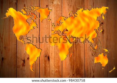 Global worming behind wooden panel.