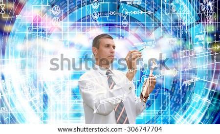 Globalization  computer technology - stock photo