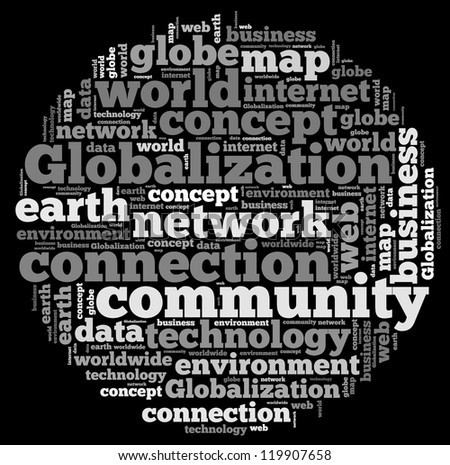 Globalization info-text graphics and arrangement concept on white background (word cloud)