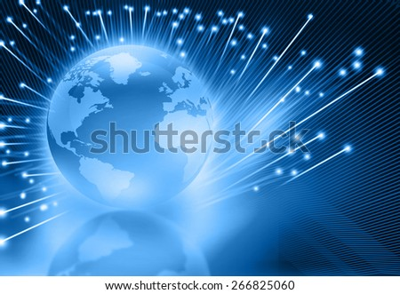 Globalization of  fiber optics , globe with fiber optic  - stock photo