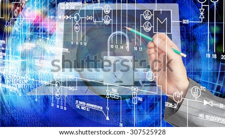Globalization  security computer technology - stock photo