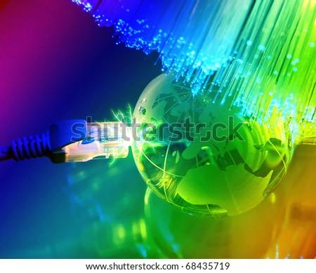 globe against fiber optic background - stock photo