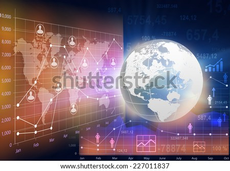 Globe and abstract business charts with the world map