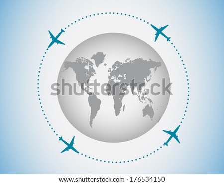 Globe and airplanes - stock photo