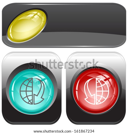 Globe and array down. Internet buttons. Raster illustration. - stock photo
