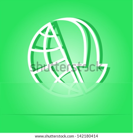 Globe and array down. Paper sticker as bookmark. Raster illustration. - stock photo