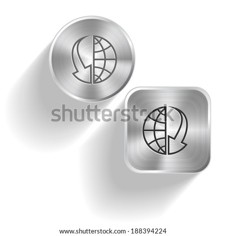 Globe and array down. Raster set steel buttons - stock photo