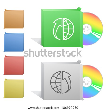 Globe and array up. Box with compact disc. Raster illustration.  - stock photo