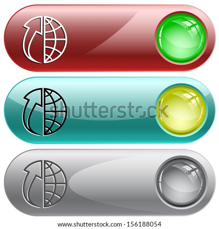 Globe and array up. Internet buttons. Raster illustration. Vector version is in my portfolio. - stock photo