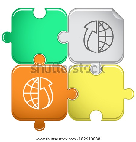 Globe and array up. Raster puzzle.  - stock photo