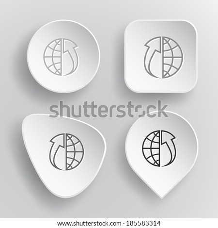 Globe and array up. White flat raster buttons on gray background. - stock photo