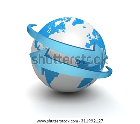 globe and arrow