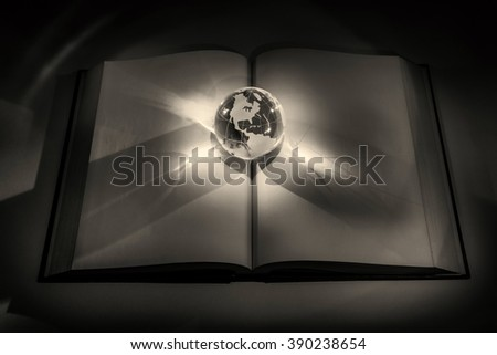 globe and book, business and education concept - stock photo