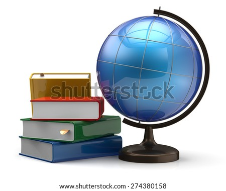 Globe and books blank global international geography knowledge studying wisdom literature cartography icon concept. 3d render isolated on white background - stock photo