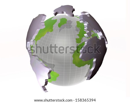 Globe and continents on the white background.