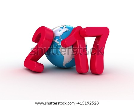 Globe and 2017 3D text on white background - stock photo
