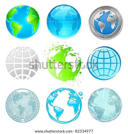 Globe and Earth set. (Vector version of this work is available in my portfolio: # 47565295) - stock photo