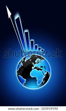 globe and financial chart over dark blue background - stock photo