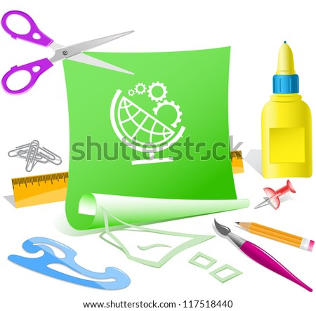 Globe and gears. Paper template. Raster illustration. - stock photo