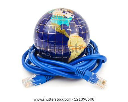 Globe and internet cable isolated on white background - stock photo