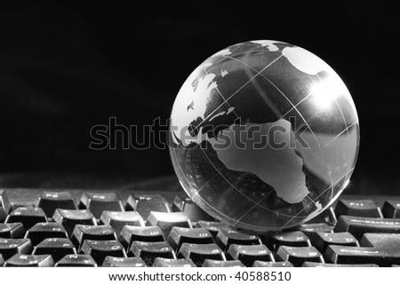 Globe and keyboard - stock photo