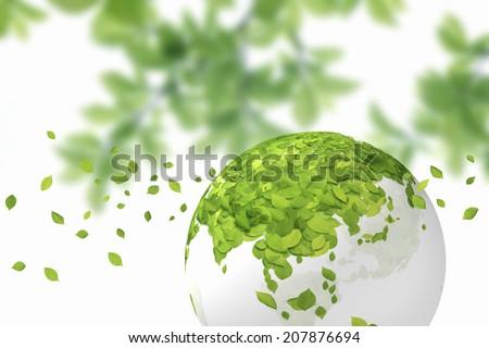Globe And Leaf Of The Fresh Green Leaf - stock photo