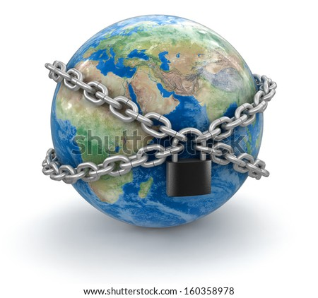 Globe and lock (clipping path included). Earth map provided by NASA - stock photo