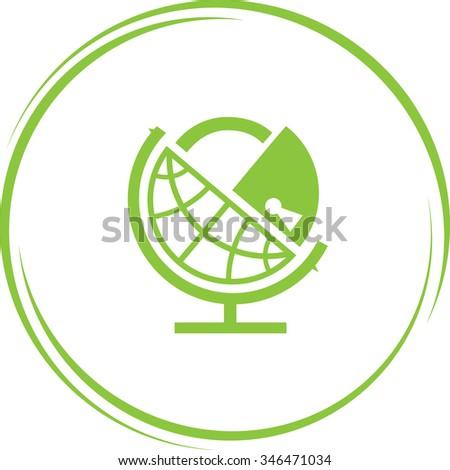 globe and lock. Internet button. Raster icon. - stock photo