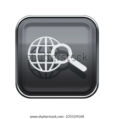 globe and magnifier icon glossy grey, isolated on white background - stock photo