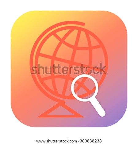 Globe and magnifying glass icon - stock photo