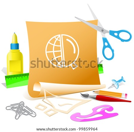 Globe and magnifying glass. Paper template. Raster illustration. - stock photo