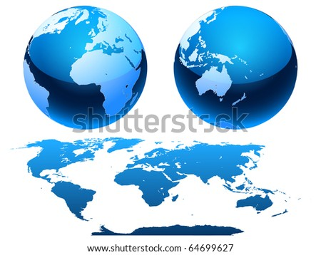 Globe and map of the planet Earth.