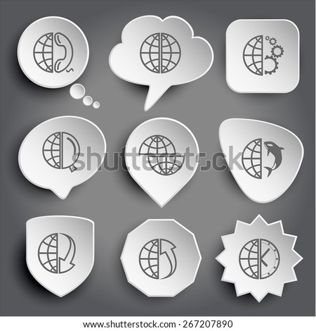 globe and phone, and gears, and magnifying glass, shift globe, and shamoo, and array down, and array up, and clock. White raster buttons on gray. - stock photo
