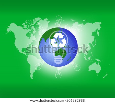 Globe and recycle sign over attractive background. Eco concept. - stock photo