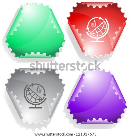 Globe and recycling symbol. Raster sticker. Vector version is in my portfolio.