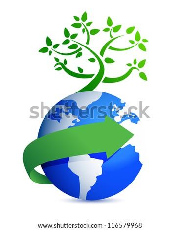 globe and tree illustration design over white background - stock photo