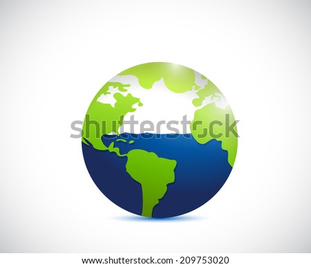 globe and water illustration design over a white background - stock photo