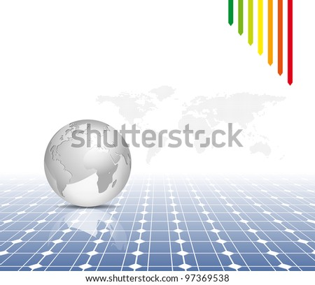 Globe and world map with photovoltaic solar panel - electricity background - stock photo