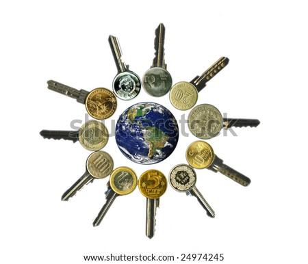 Globe and worldwide financial latchkeys, isolated, over white. - stock photo
