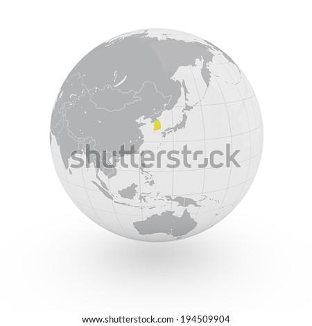 Globe Asia South Korea - stock photo