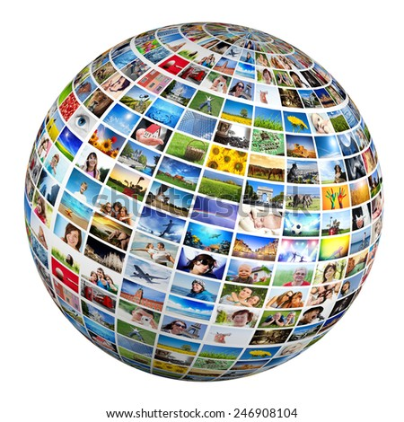 Globe, ball with various pictures of people, nature, objects, places. Concepts of social media, globalization etc. - stock photo