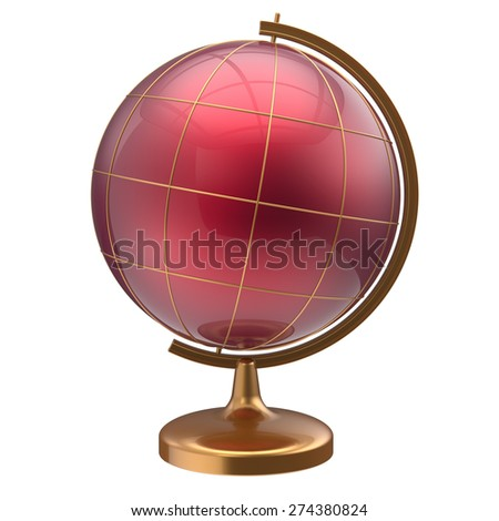 Globe blank red planet international global geography school studying world cartography symbol icon. 3d render isolated on white background - stock photo