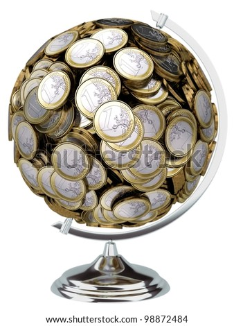 globe collected from the European money isolated on white background - stock photo