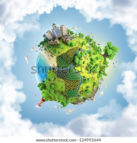 globe concept showing a green, peaceful and idyllic life style in the world in a cartoon style - stock photo