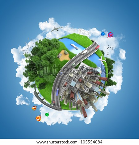 globe concept showing the various modes of transport and life styles in the world - stock photo