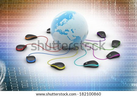 Globe connecting with computer mouse - stock photo