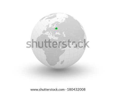 Globe. 3d. Belarus. Elements of this image furnished by NASA