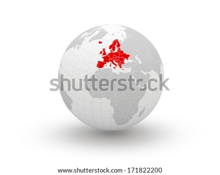 Globe. 3d. Europe. Elements of this image furnished by NASA - stock photo
