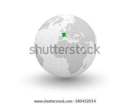 Globe. 3d. France. Elements of this image furnished by NASA