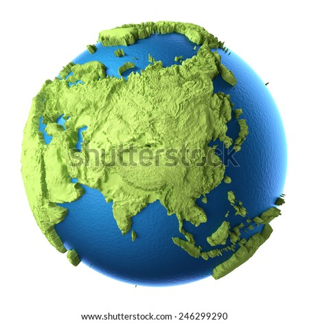 Globe 3d isolated on white background. Continent Asia. Elements of this image furnished by NASA - stock photo